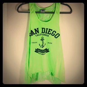 Tops - San Diego Neon Green Lace California Summer Neon